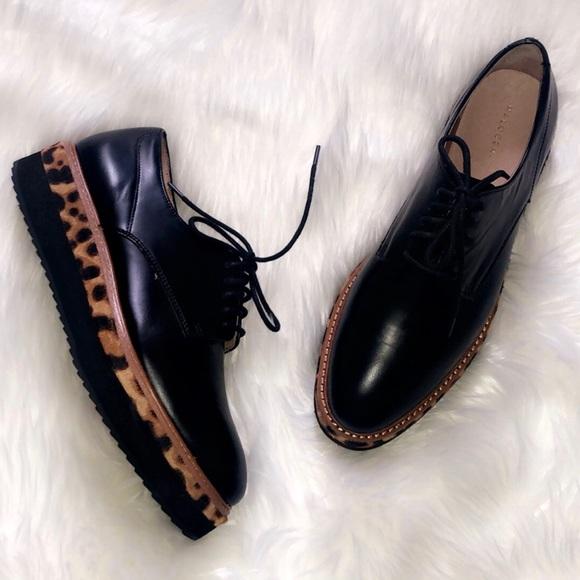 Halogen Black Leather Platform Oxford